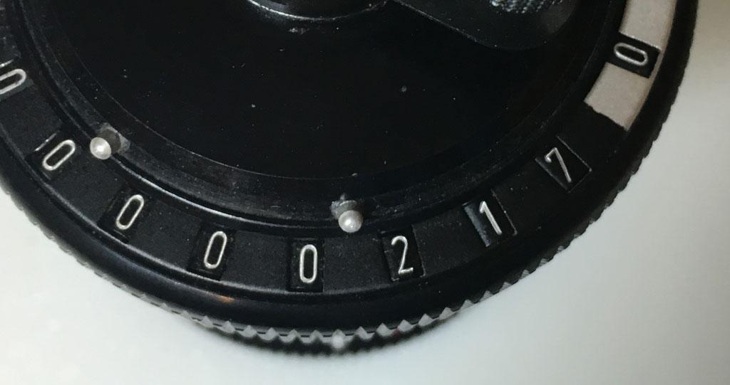Curta accumulator showing 217