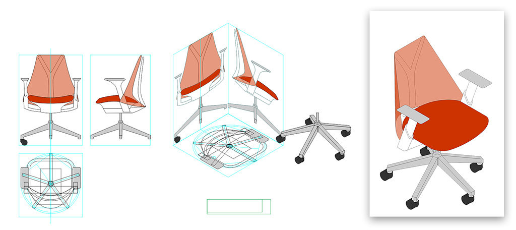 Isometric conversion of Herman Miller Sayl chair
