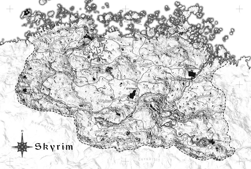 graphic regarding Printable Skyrim Map named Skyrim Map Rocketsoup
